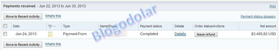 Payment recived Juni 2013