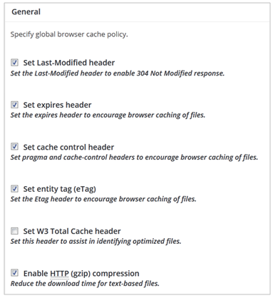 Opsi general browser cache