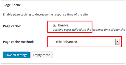 Page cache enable
