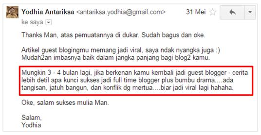 Email dari Mas Yodhia Antariksa