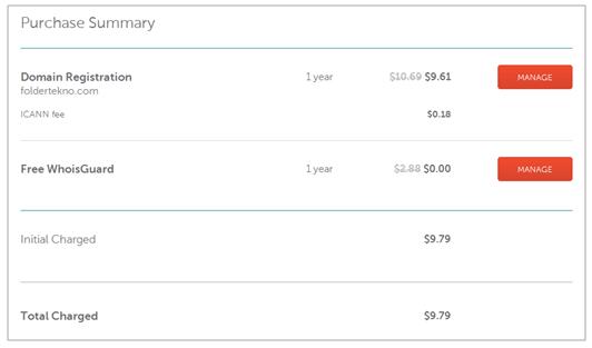 Bukti pembelian domain di NameCheap