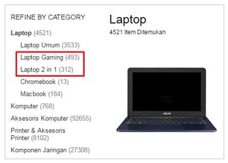 Kategori Laptop di Lazada