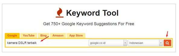Pencarian kata kunci di KeywordTool.io