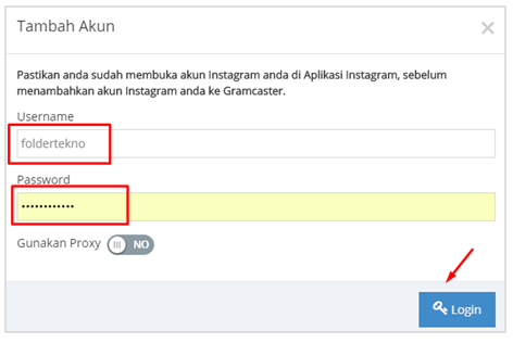 Masukkan username dan password IG