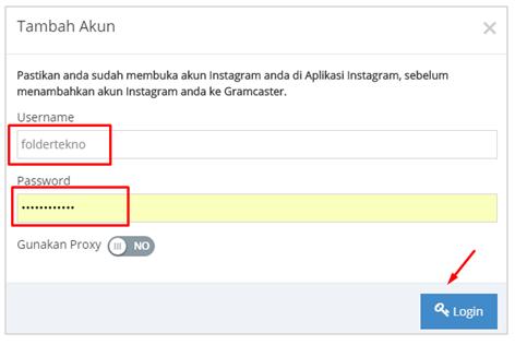 Masukkan username dan password IG