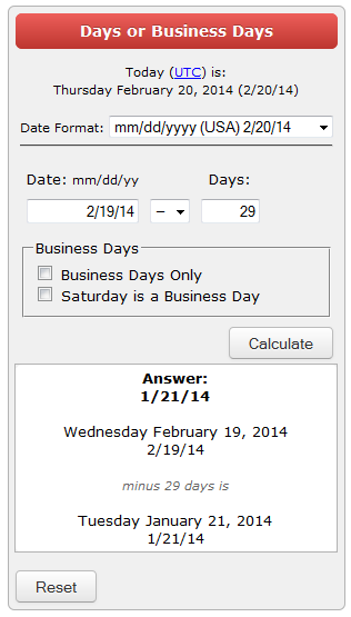 last 30 days calculation