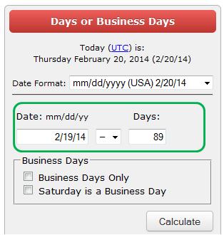 last 90 days calculation