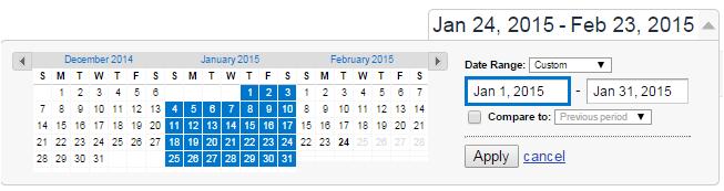 kisaran tanggal Jan 2015