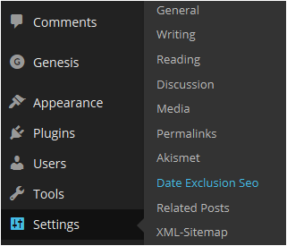 Settings date exclusion SEO