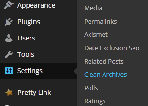 Settings Clean Archives