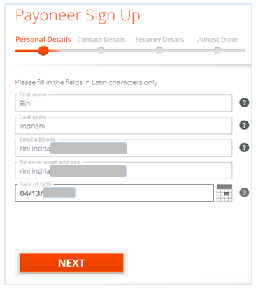 Personal details form