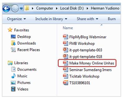 File presentasi di laptop