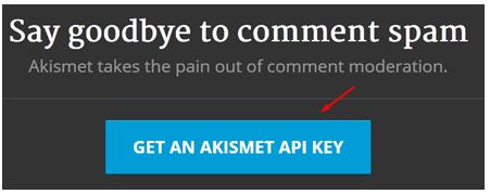 tombol Get an Akismet API key
