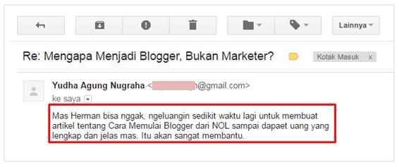 Ide ebook dari email pembaca
