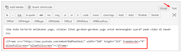 Paste code embed YouTube di Text editor