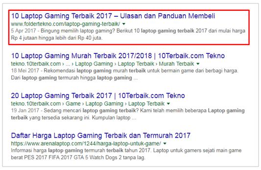 Nomor 1 di Google