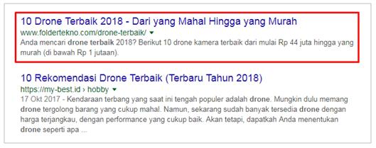 Peringkat FolTek di halaman 1 Google